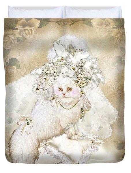 Cat In Fancy Bridal Hat Duvet Cover by Carol Cavalaris