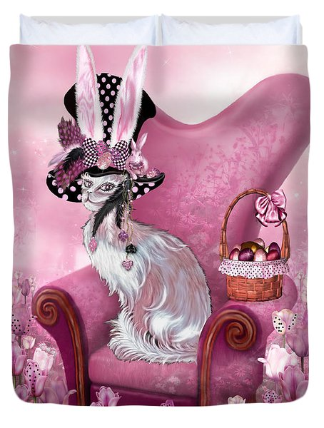Cat In Mad Hatter Hat Duvet Cover by Carol Cavalaris