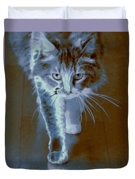 Cat Walking Duvet Cover by Ben and Raisa Gertsberg