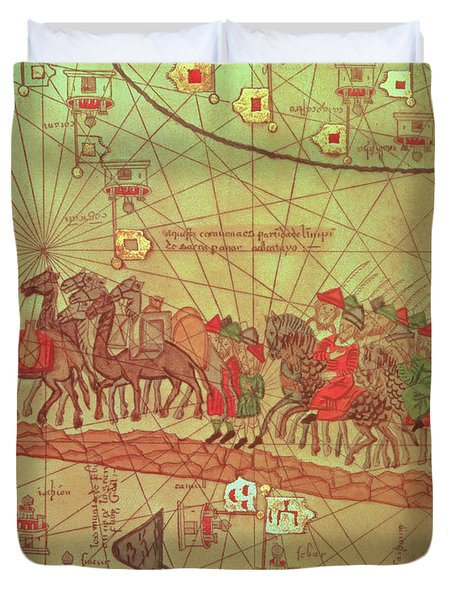 Catalan Atlas, Detail Showing The Family Of Marco Polo 1254-1324 Travelling By Camel Caravan, 1375 Duvet Cover by Spanish School
