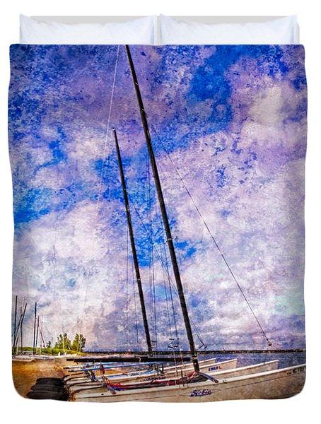 Catamarans at the Lake Duvet Cover by Debra and Dave Vanderlaan