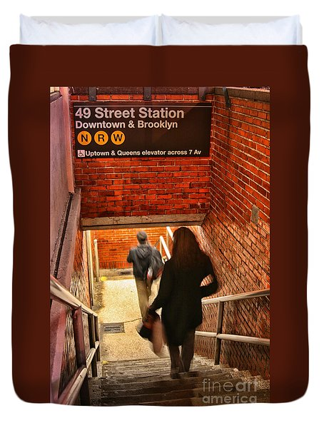 Catching The Subway Duvet Cover by Karol Livote