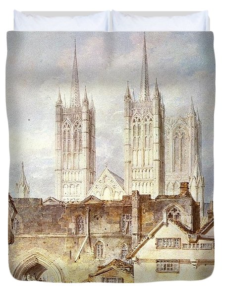 Cathedral church at Lincoln 1795 Duvet Cover by Joseph Mallord William Turner