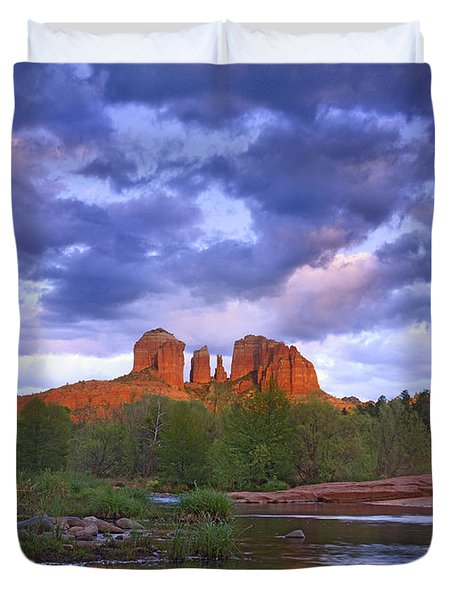 Cathedral Rock And Oak Creek At Red Duvet Cover by Tim Fitzharris