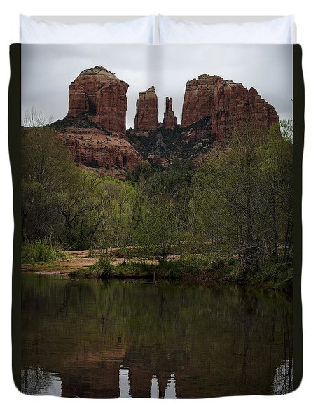 Cathedral Rock and Reflection Duvet Cover by Dave Gordon