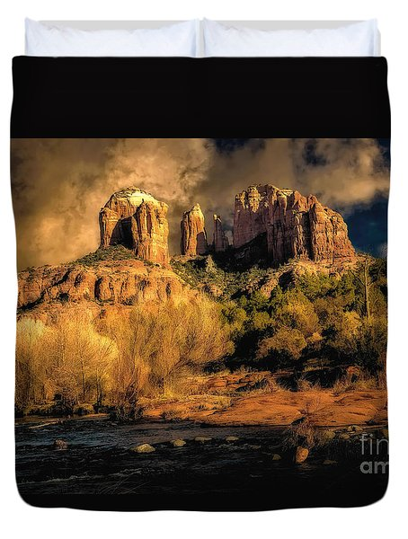 Cathedral Rock Before The Rains Came Duvet Cover by Jon Burch Photography