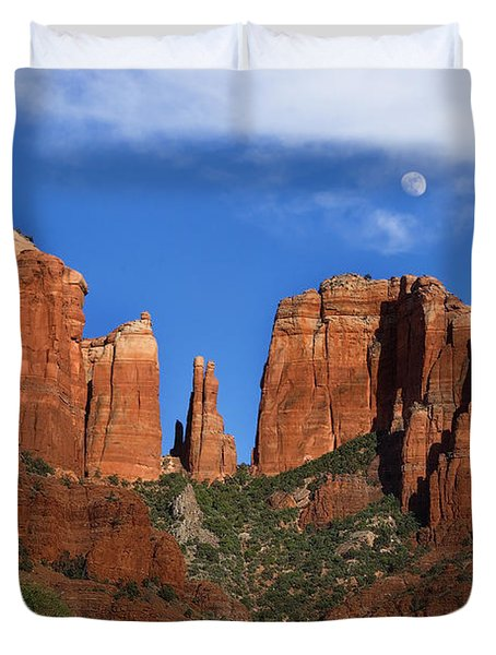 Cathedral Rock Moon Rise Color Duvet Cover by Dave Dilli