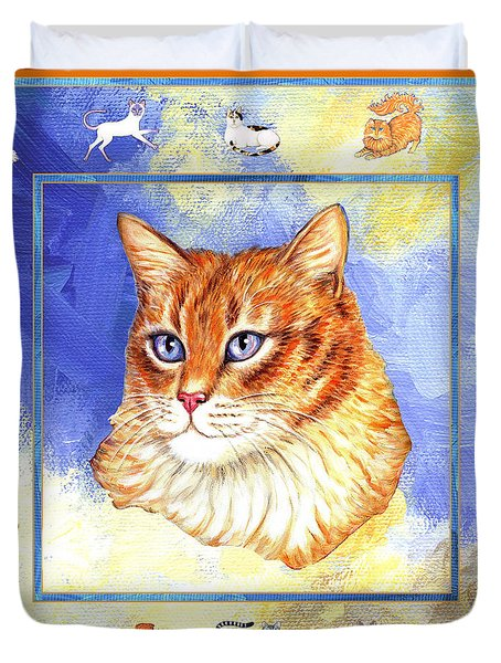 Cats Purrfection Five - Orange Tabby Duvet Cover by Linda Mears