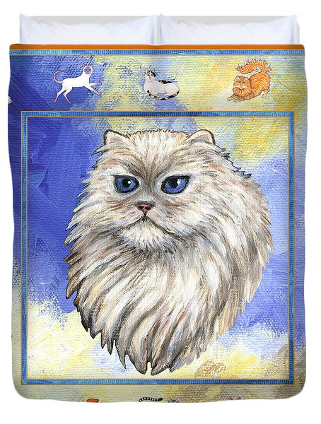 Cats Purrfection Four - Persian Duvet Cover by Linda Mears