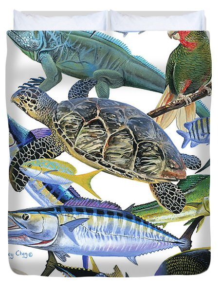 Cayman Collage Duvet Cover by Carey Chen