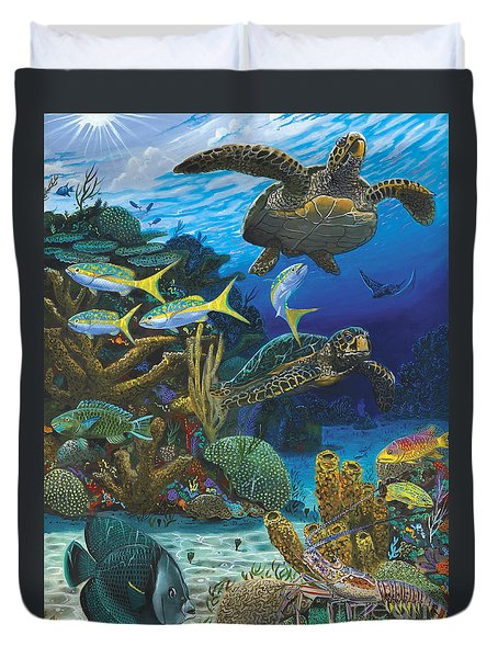 Cayman Turtles Re0010 Duvet Cover by Carey Chen