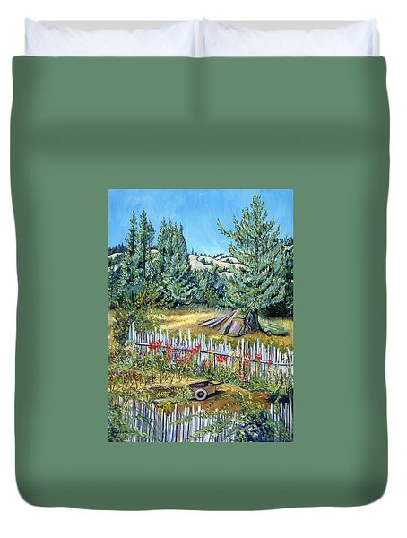 Cazadero Farm And Flowers Duvet Cover by Asha Carolyn Young