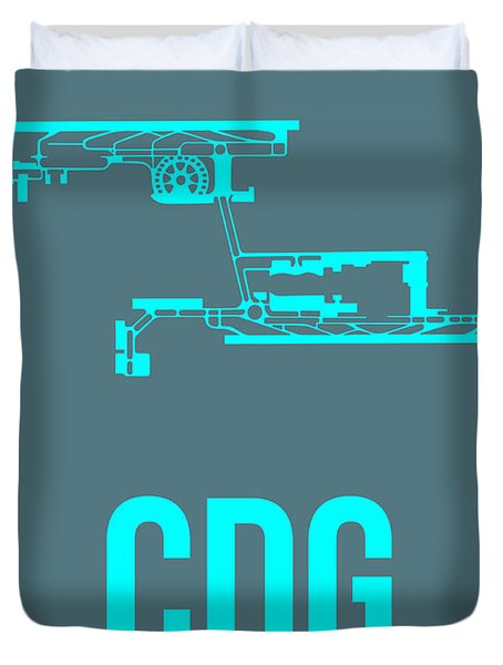 Cdg Paris Airport Poster 1 Duvet Cover by Naxart Studio
