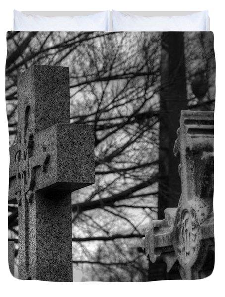 Cemetery Crosses Duvet Cover by Jennifer Lyon