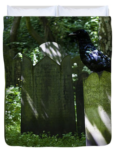 Cemetery with Ancient Gravestones and Black Crow  Duvet Cover by Nomad Art And  Design