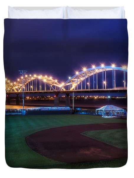 Centennial Bridge and Modern Woodmen Park Duvet Cover by Scott Norris
