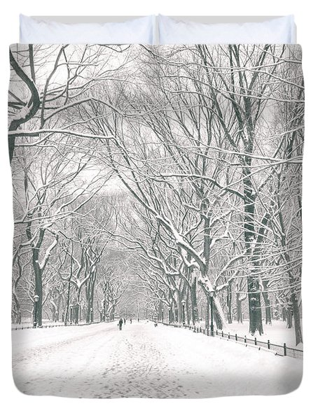 Central Park Winter - Poet's Walk in the Snow - New York City Duvet Cover by Vivienne Gucwa