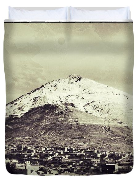Cerro Rico Potosi Black And White Vintage Duvet Cover by For Ninety One Days
