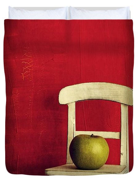 Chair Apple Red Still Life Duvet Cover by Edward Fielding