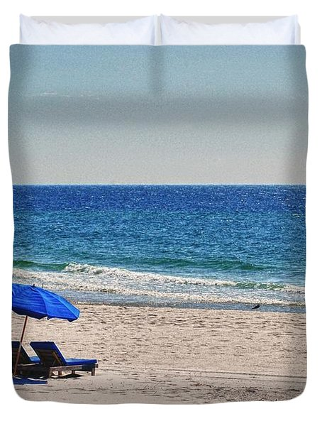 Chairs on the Beach with Umbrella Duvet Cover by Michael Thomas