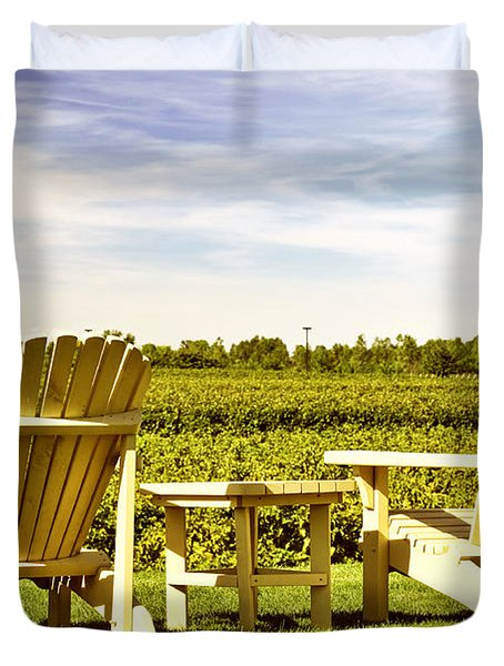 Chairs overlooking vineyard Duvet Cover by Elena Elisseeva