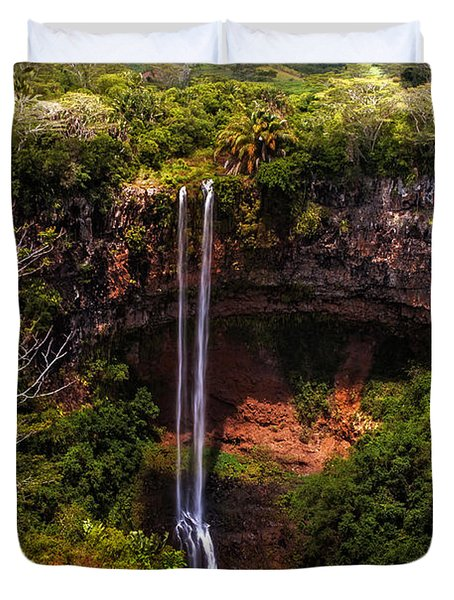 Chamarel Waterfall 1. Mauritius Duvet Cover by Jenny Rainbow
