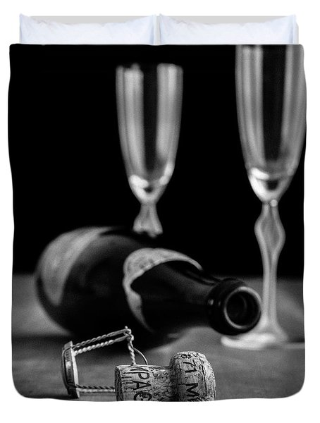 Champagne Bottle Still Life Duvet Cover by Edward Fielding