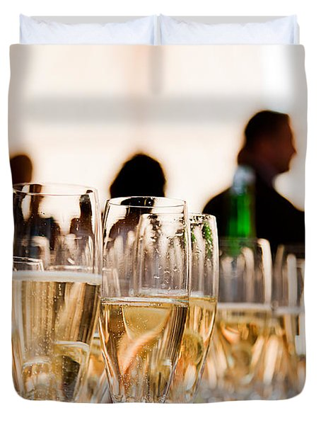 Champagne glasses at the party Duvet Cover by Michal Bednarek