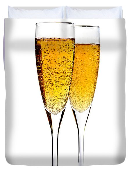 Champagne in glasses Duvet Cover by Elena Elisseeva