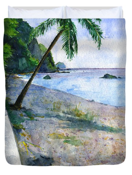 Champagne Snorkel Dominica Duvet Cover by John D Benson
