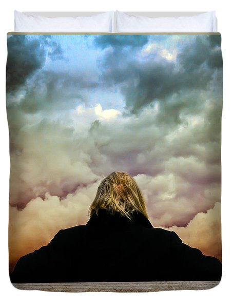 Chance of Rain First Panel  No Umbrella Duvet Cover by Bob Orsillo