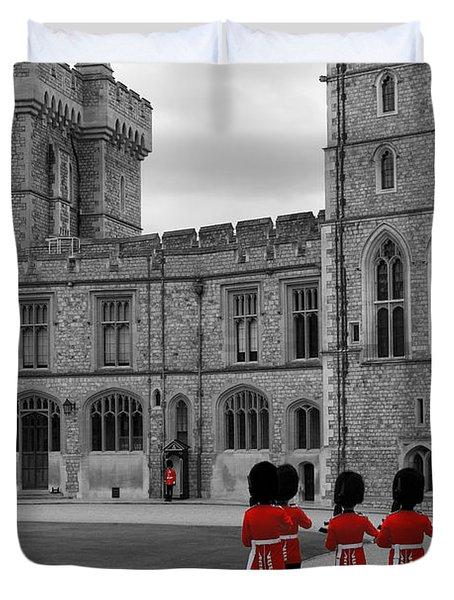 Changing of the Guard at Windsor Castle Duvet Cover by Lisa Knechtel