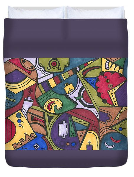 Chaos In The Hood Duvet Cover by Susie WEBER