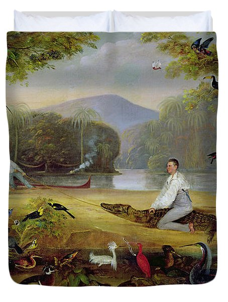 Charles Waterton Capturing A Cayman, 1825-26 Duvet Cover by Captain Edward Jones