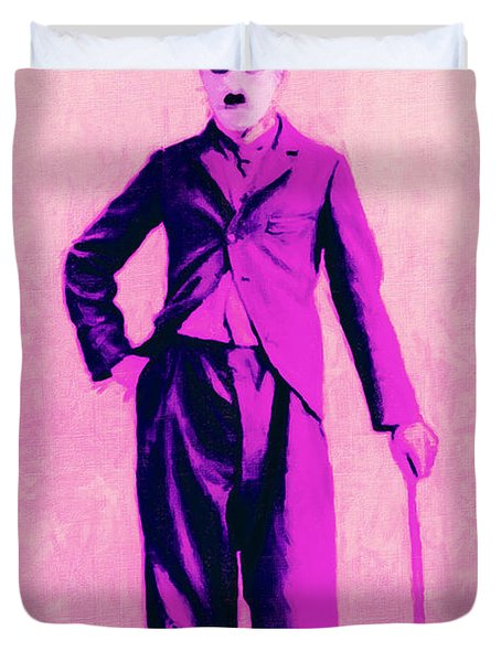Charlie Chaplin The Tramp 20130216 Duvet Cover by Wingsdomain Art and Photography