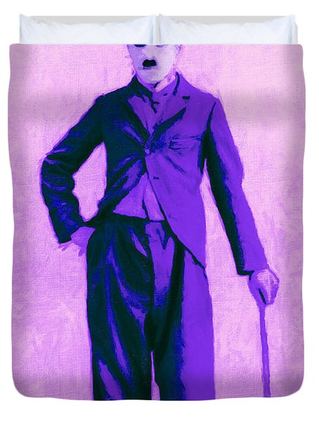 Charlie Chaplin The Tramp 20130216m40 Duvet Cover by Wingsdomain Art and Photography