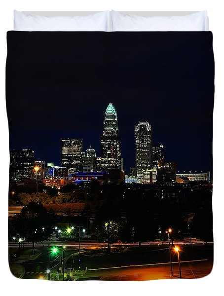 Charlotte NC at night Duvet Cover by Chris Flees