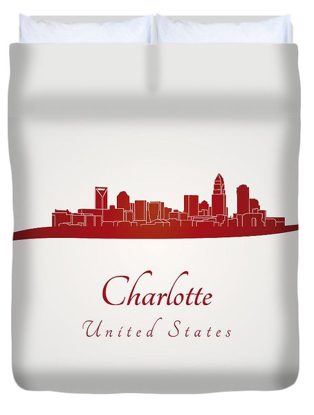 Charlotte skyline in red Duvet Cover by Pablo Romero