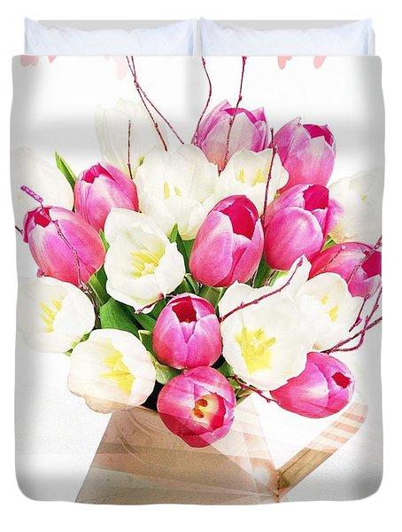 Charming Heart Tulips Duvet Cover by Debra  Miller