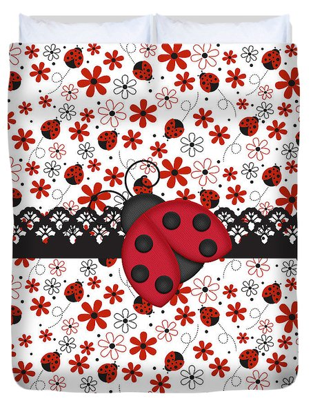 Charming Ladybugs Duvet Cover by Debra  Miller