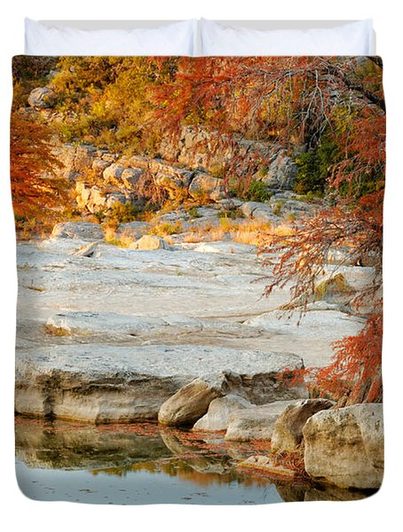 Chasing The Light At Pedernales Falls State Park Hill Country Duvet Cover by Silvio Ligutti