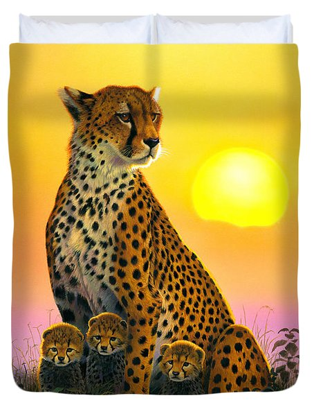 Cheetah And Cubs Duvet Cover by MGL Studio - Chris Hiett
