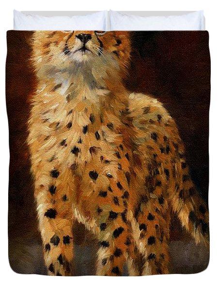 Cheetah Cub Duvet Cover by David Stribbling