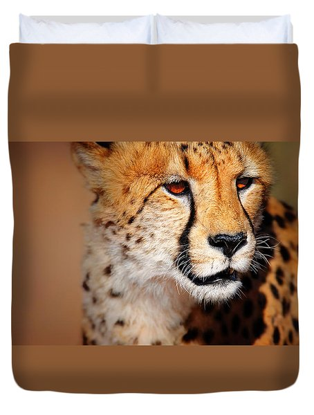 Cheetah Portrait Duvet Cover by Johan Swanepoel