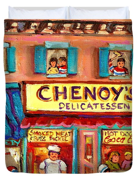 CHENOYS DELICATESSEN MONTREAL LANDMARKS PAINTING  CAROLE SPANDAU STREET SCENE SPECIALIST ARTIST Duvet Cover by CAROLE SPANDAU