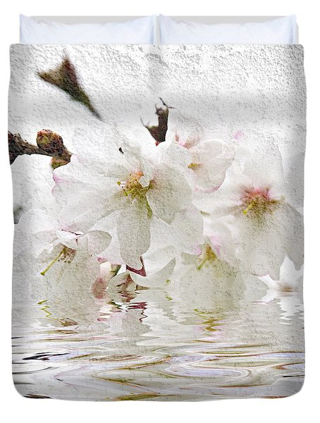 Cherry blossom in water Duvet Cover by Elena Elisseeva