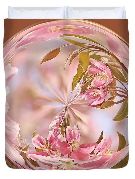 Cherry Blossom Orb Duvet Cover by Kim Hojnacki