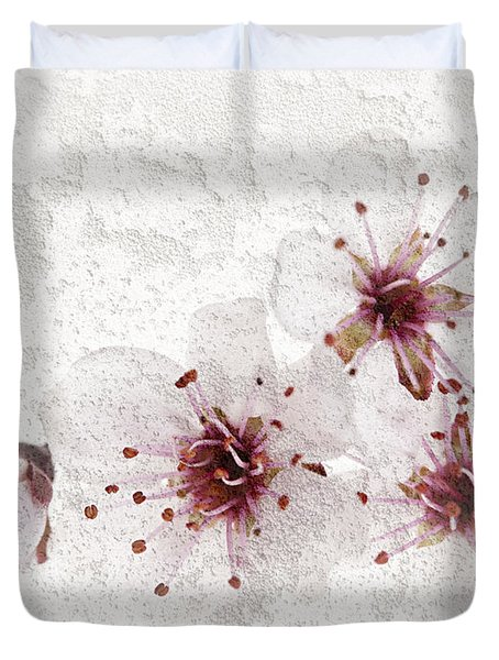 Cherry blossoms close up Duvet Cover by Elena Elisseeva