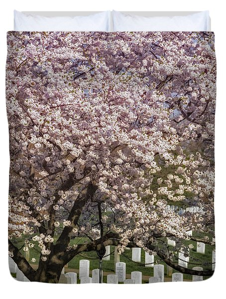 Cherry Blossoms Grace Arlington National Cemetery Duvet Cover by Susan Candelario