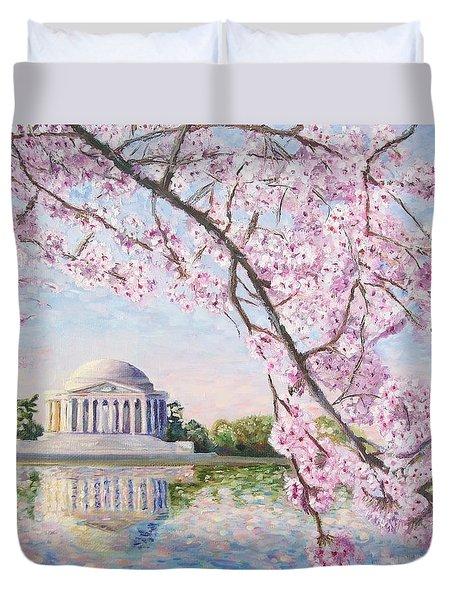 Jefferson Memorial Cherry Blossoms Duvet Cover by Patty Kay Hall